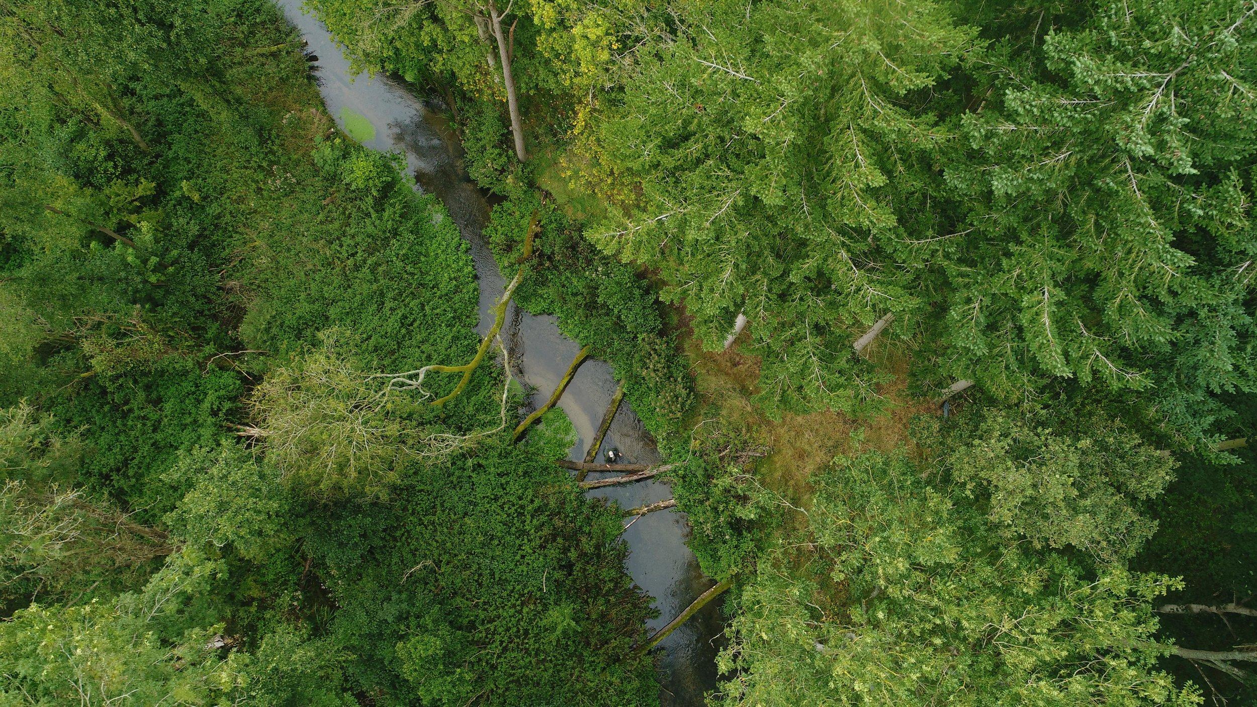 Drone chalk stream river