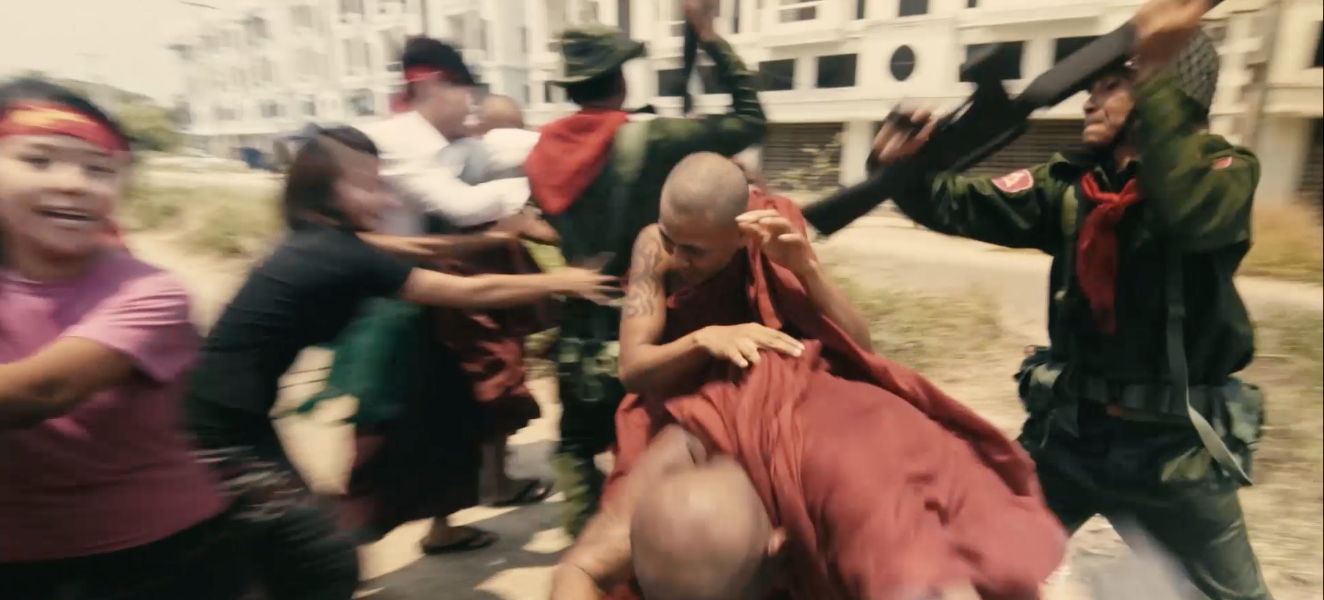 We Ra Aung / Myanmar / 2016 / Burmese / 18min   In Myanmar where the Saffron Revolution rages on, a novice Buddhist monk escapes from soldiers [who brutally dispersed their protest against the oppressive regime and finds himself at the mercy of a Muslim woman.   Director: We Ra is one of the leading independent filmmakers in Myanmar.He is an alumnus of Asian Film Academy of Busan IFF 2013, Talents Tokyo of Tokyo Filmex 2014, Open Doors Lab of Locarno IFF 2016. His films have been selected in different festivals in the world. Currently, he is developing his first feature film One Summer Day.   Producer: We Ra Aung & Aiess Alonso