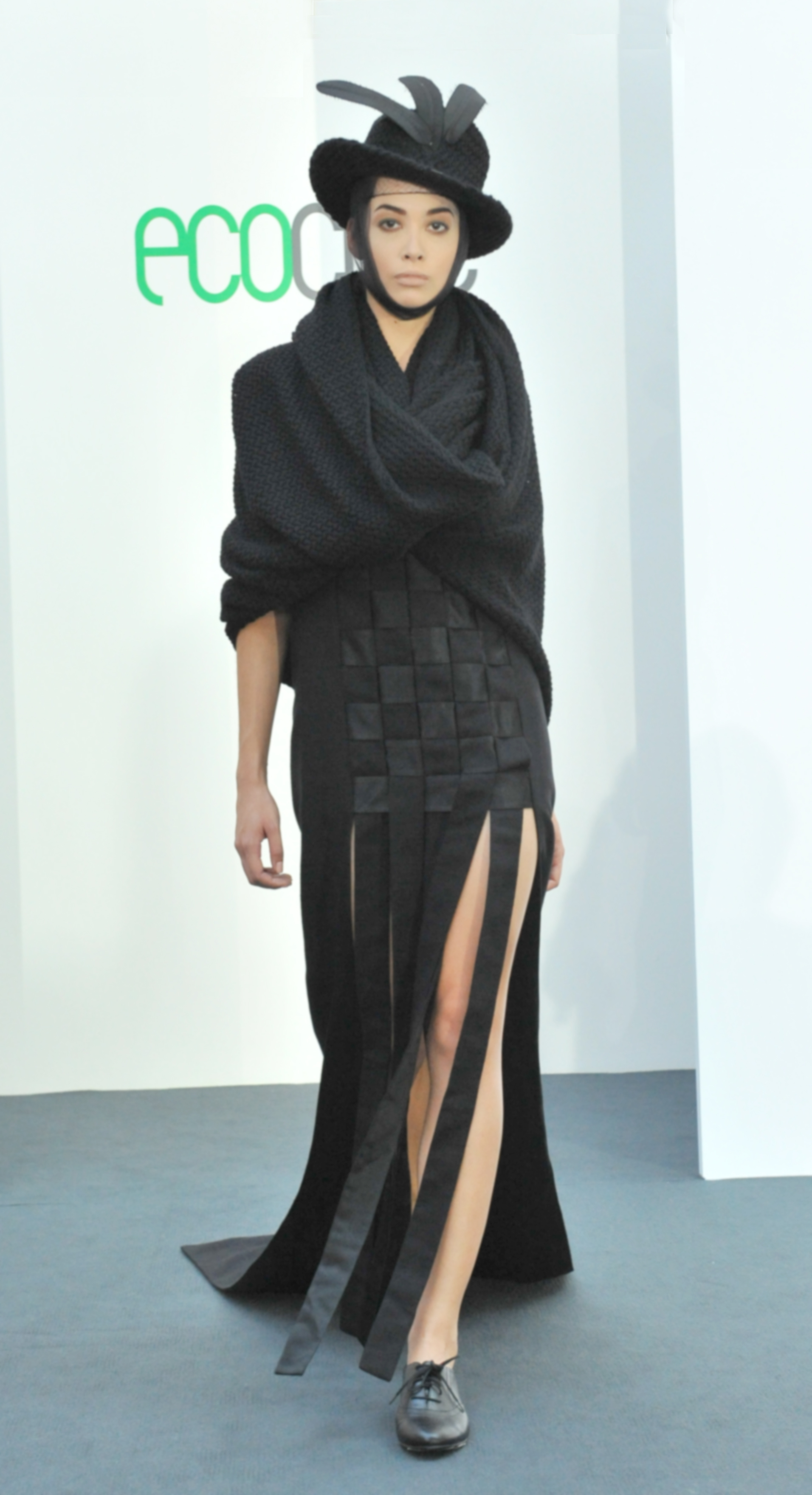 25. Zambesi - Long black dress (cotton, wool, silk from studio wastage) with hat.jpg
