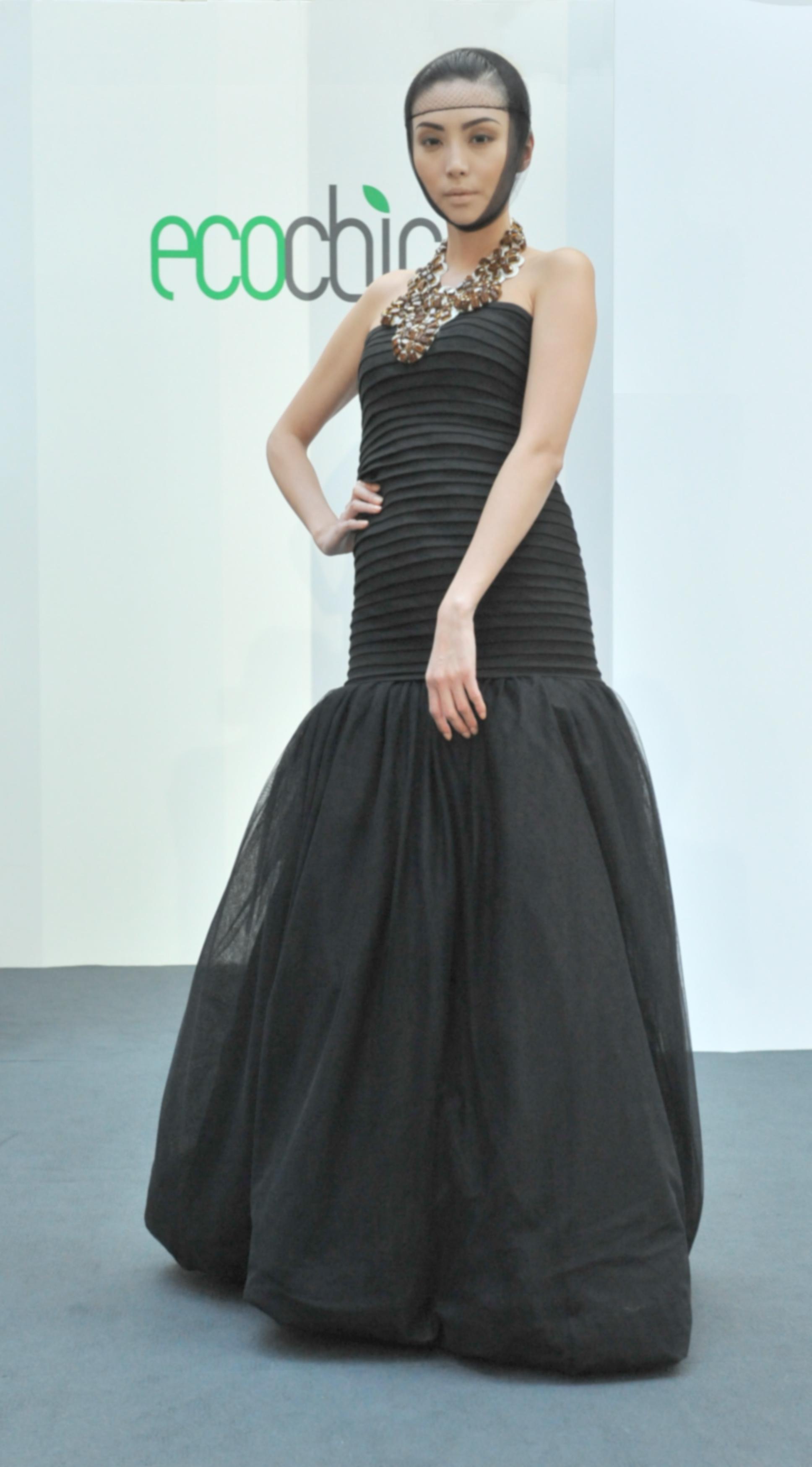 22. Selphie Bong - Long black cotton dress (organic) with necklace.jpg