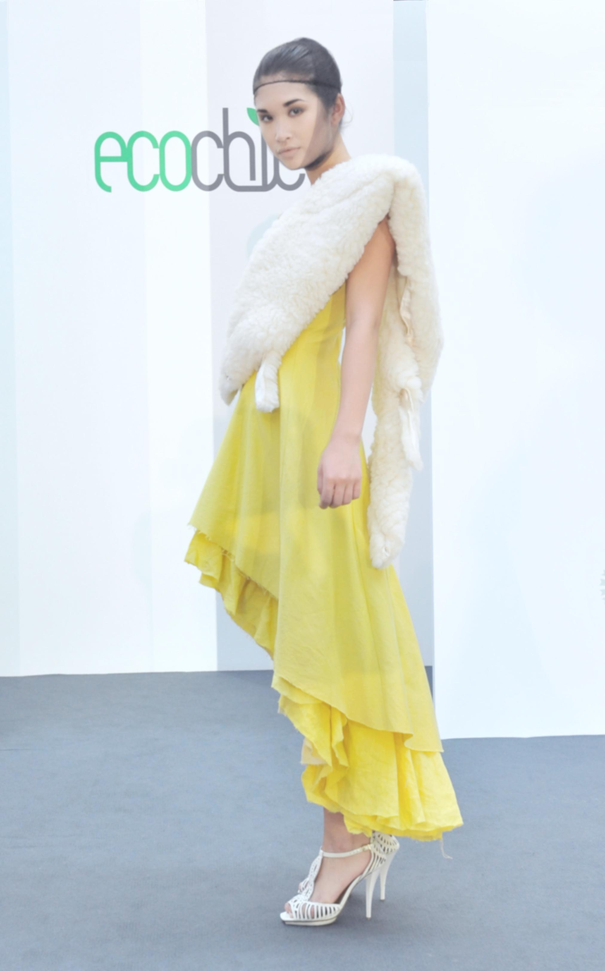 20.  Meiling Chen yellow dress (organic cotton:hemp) with faux sheepskin shrug.jpg