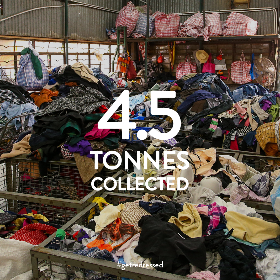 4.5 tonnes of clothing were collected via The Get Redressed x Miele Clothing Drive 2017