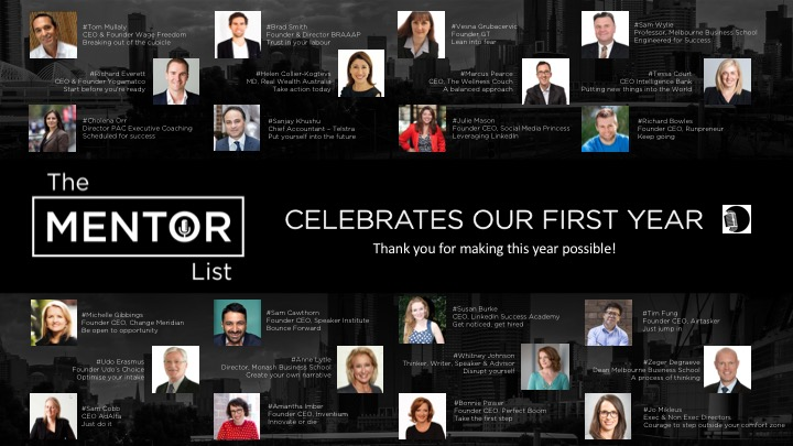 THE MENTOR LIST CELEBRATES OUR FIRST BIRTHDAY. THANK YOU!