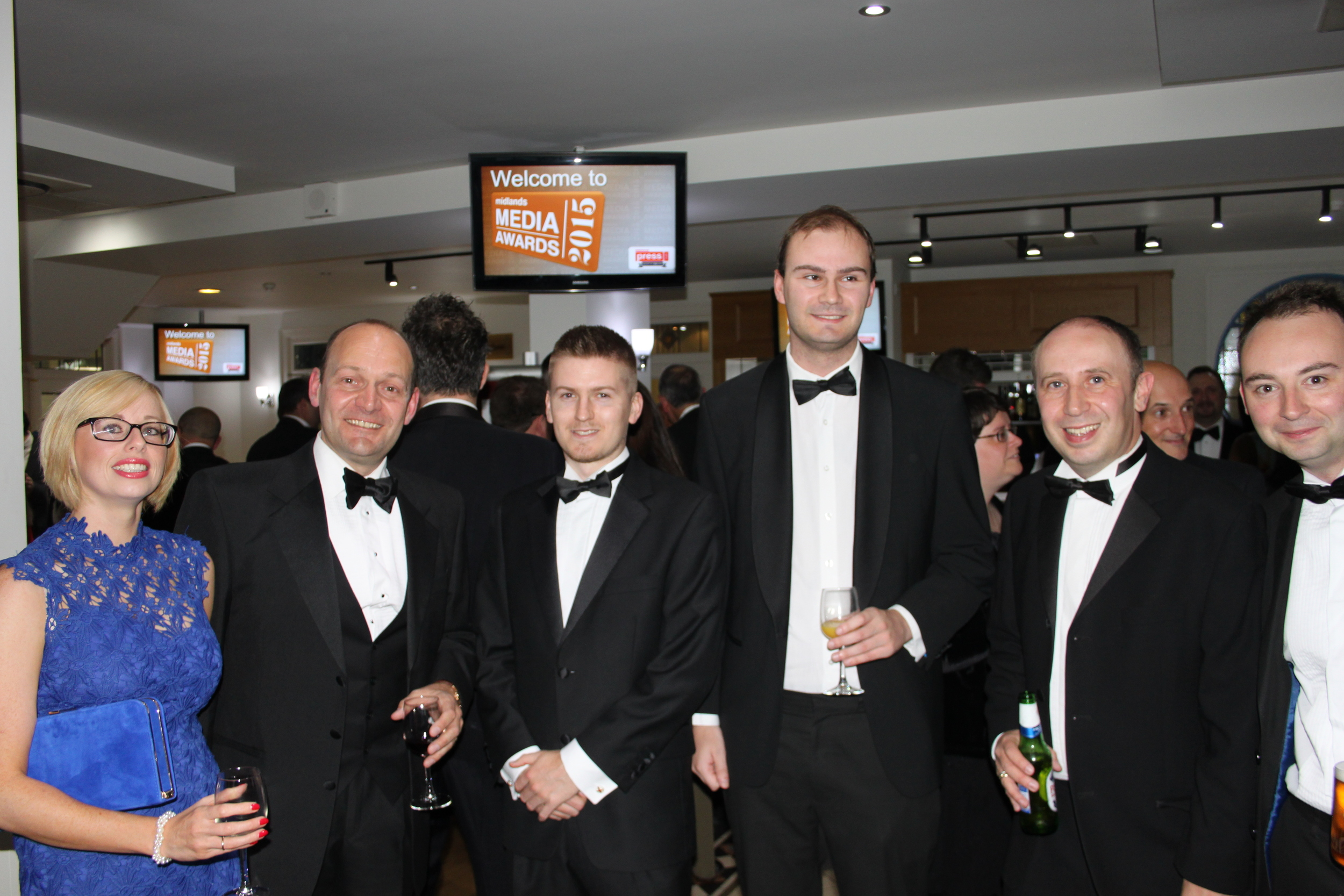 Gary Phelps (second left), editor of 2015 Newspaper of the Year winner The Tamworth Herald with his staff