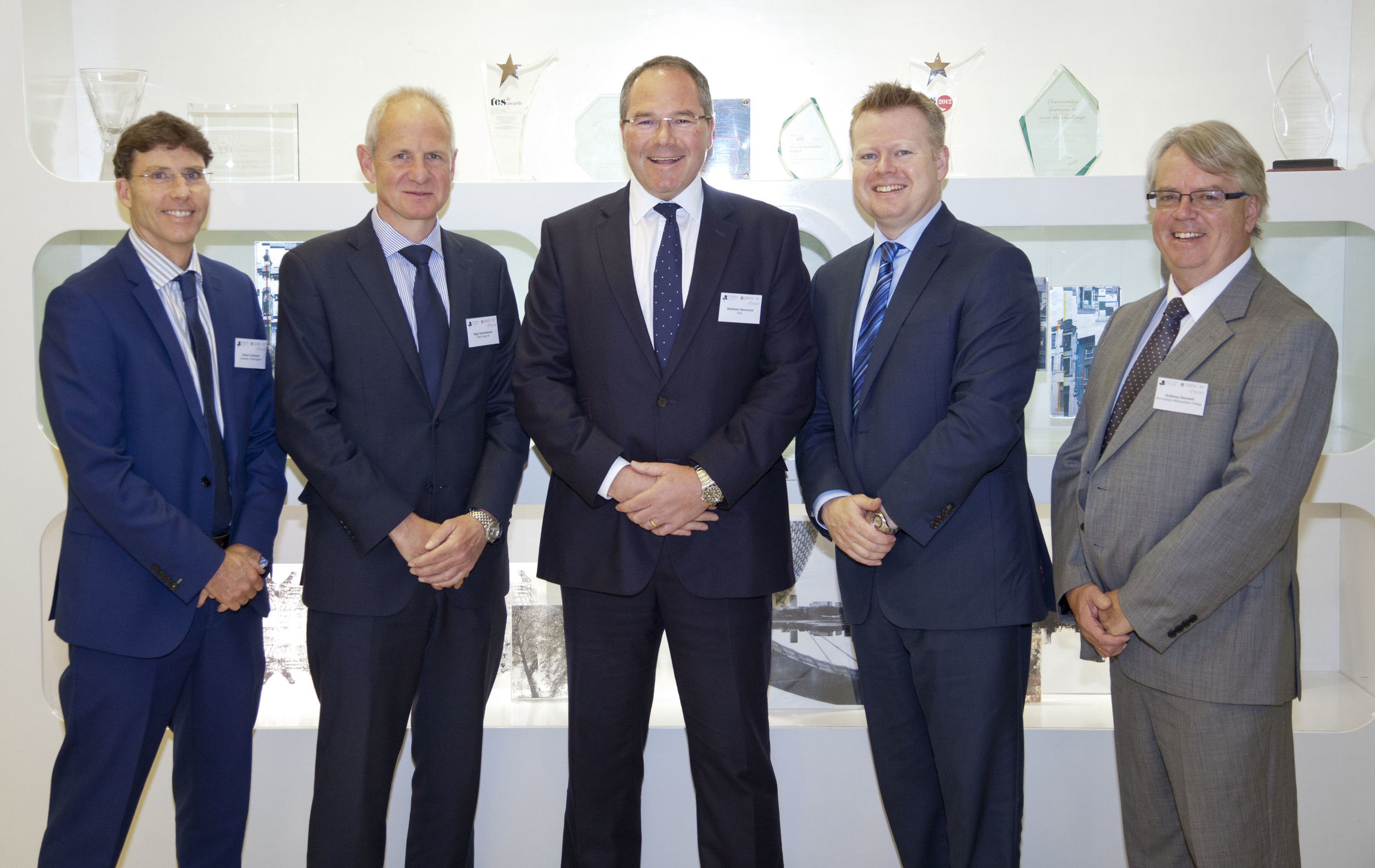 Pictured (left to right) are Professor Simon Collinson (dean of Birmingham Business School at Birmingham University), Nigel Hinshelwood (HSBC's head of UK), Matthew Hammond (regional chairman of PwC), Paul Faulkner (GBCC chief executive) and Tony Dennant (head of Matthew Boulton College at Birmingham Met).