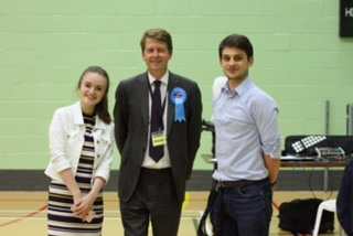 First-year Worcester students Matt Dibble and Eleanor Princ ... Robin Walker after covering the General Election count