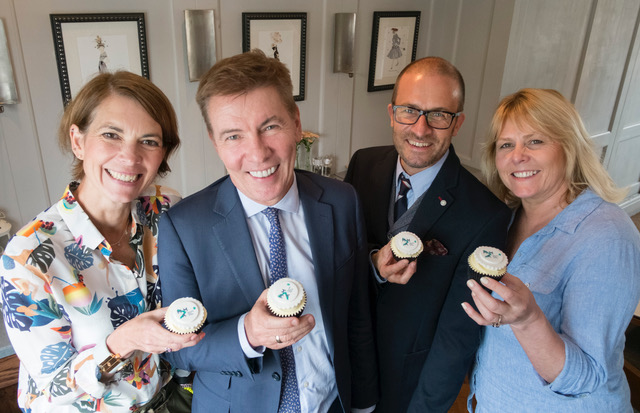Cup-cake break for judges (l-r) Beth Goodrham, Andrew Pierce, Stacey Barnfield and Press Club chairman Llewela Bailey.jpeg