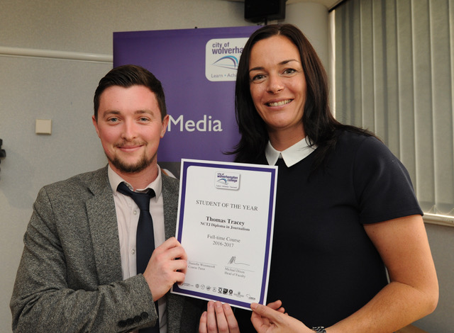Student of the Year Tom Tracey with Beverley Bailey, NCTH Head of Development