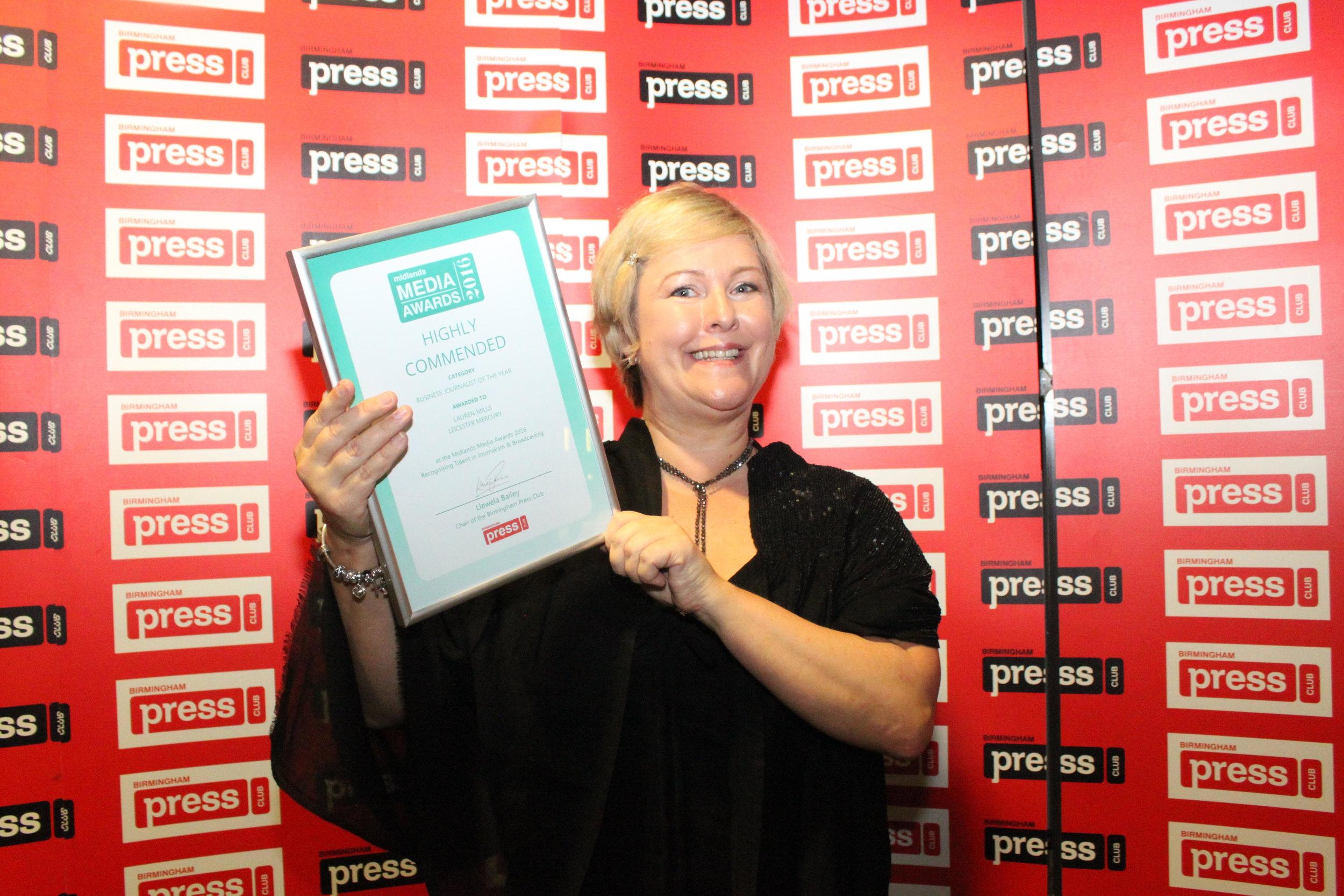 Lauren Mills at the 2016 Midlands Media Awards