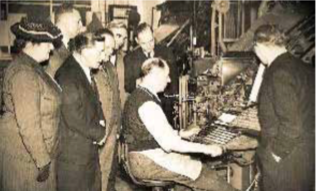 The old linotype machines at work