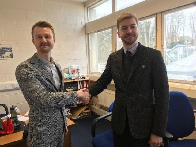 Pictured: Steven (right) with Michael Purton, editor of Worcester News