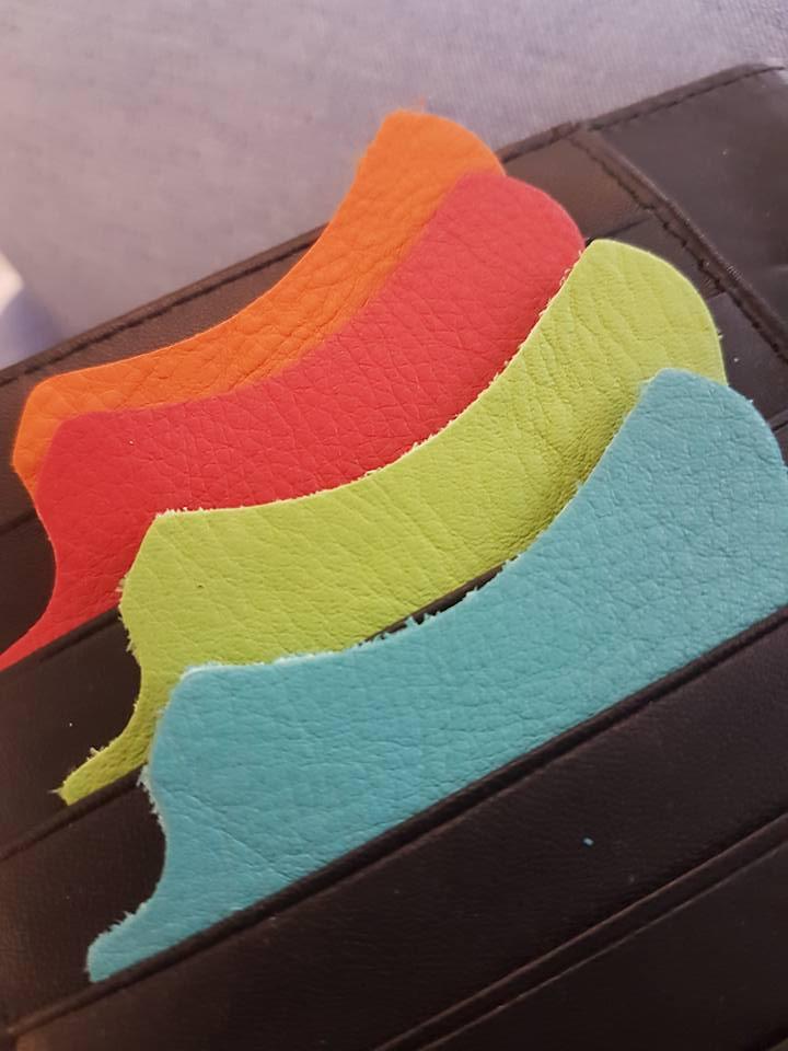 Leathers (all nappa): mandarino, corallo, menta, turchese