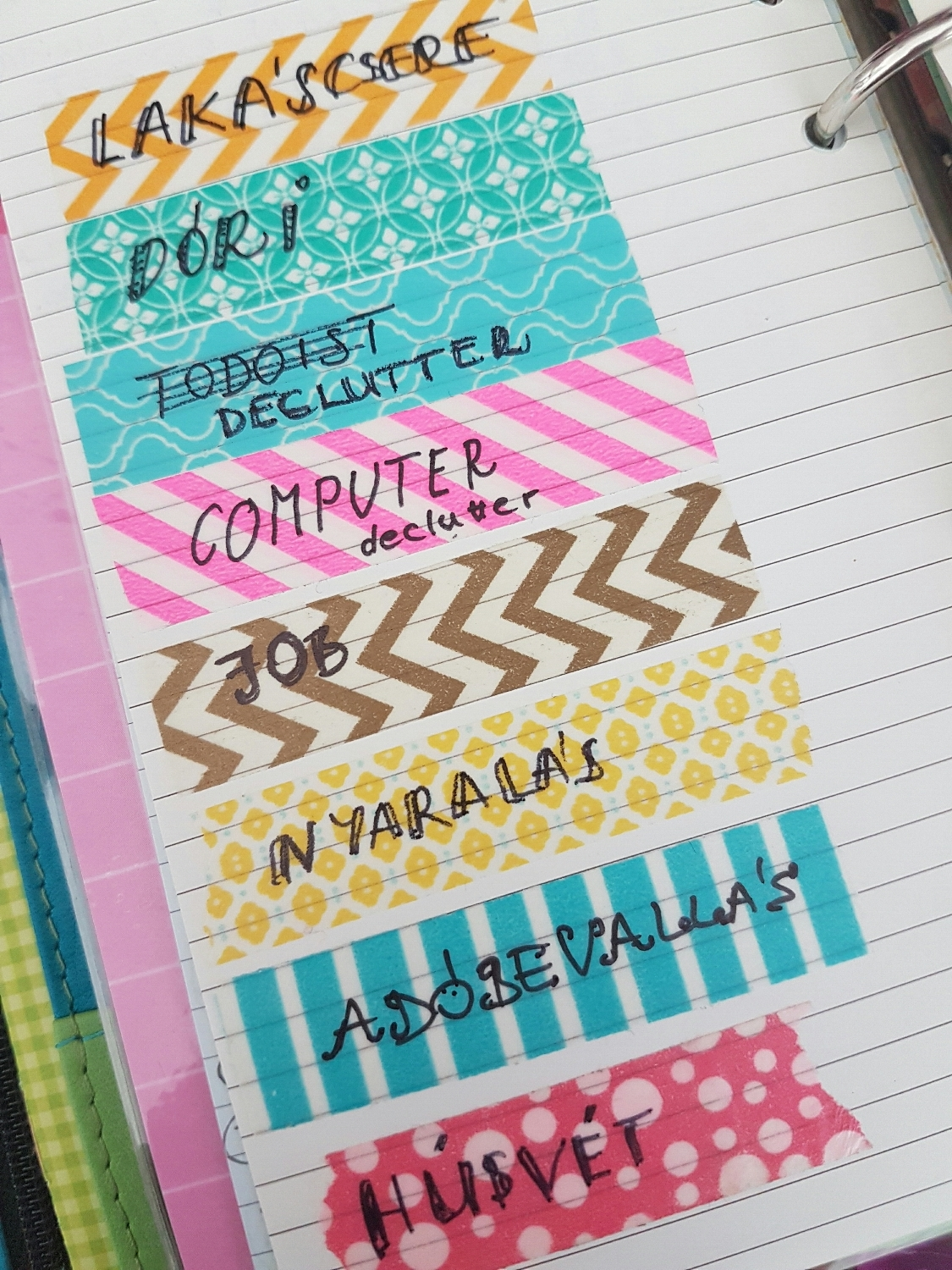 Planner hacks #1: Projects marked with washi