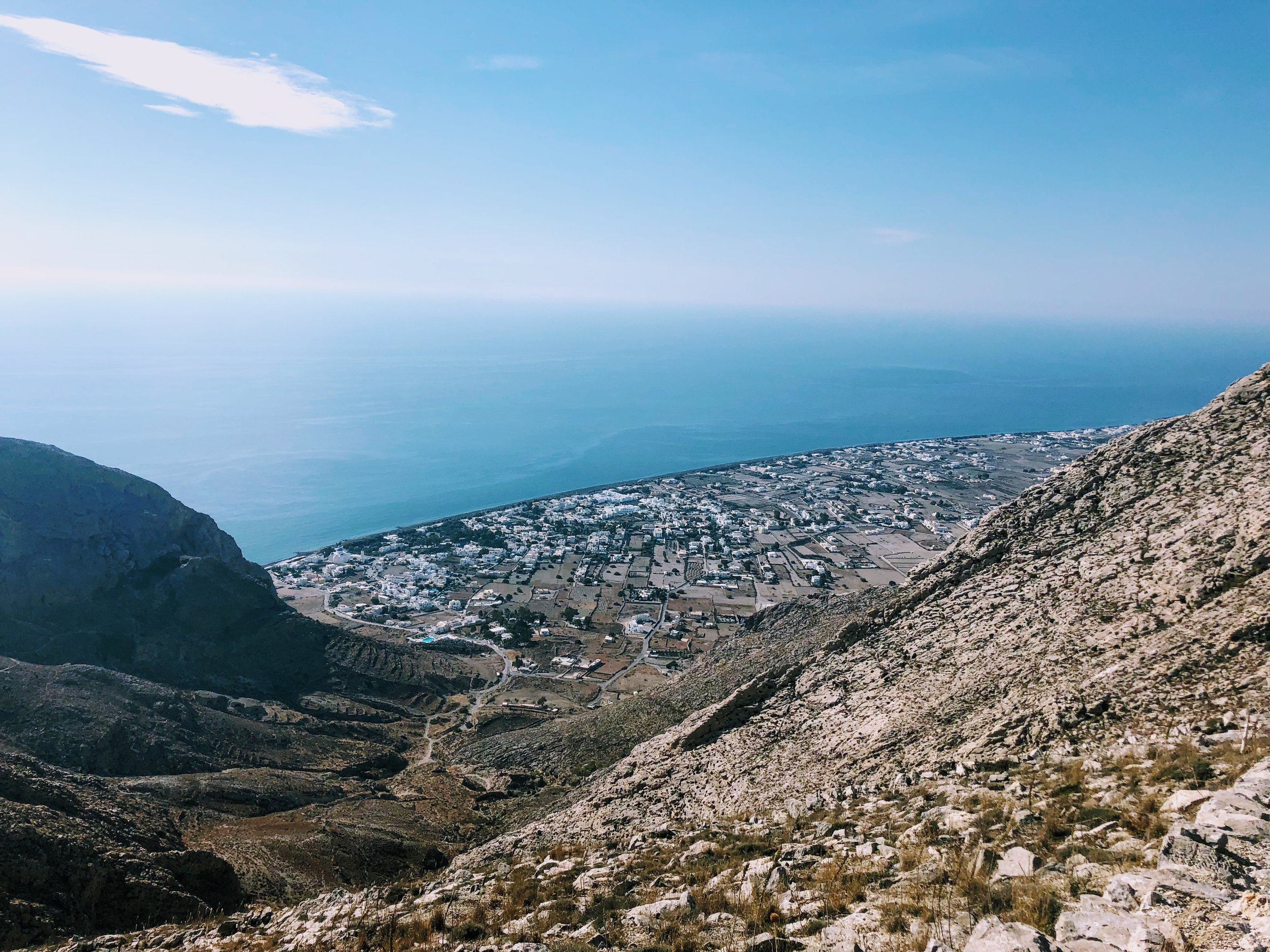 view from the hike down to Perissa beach