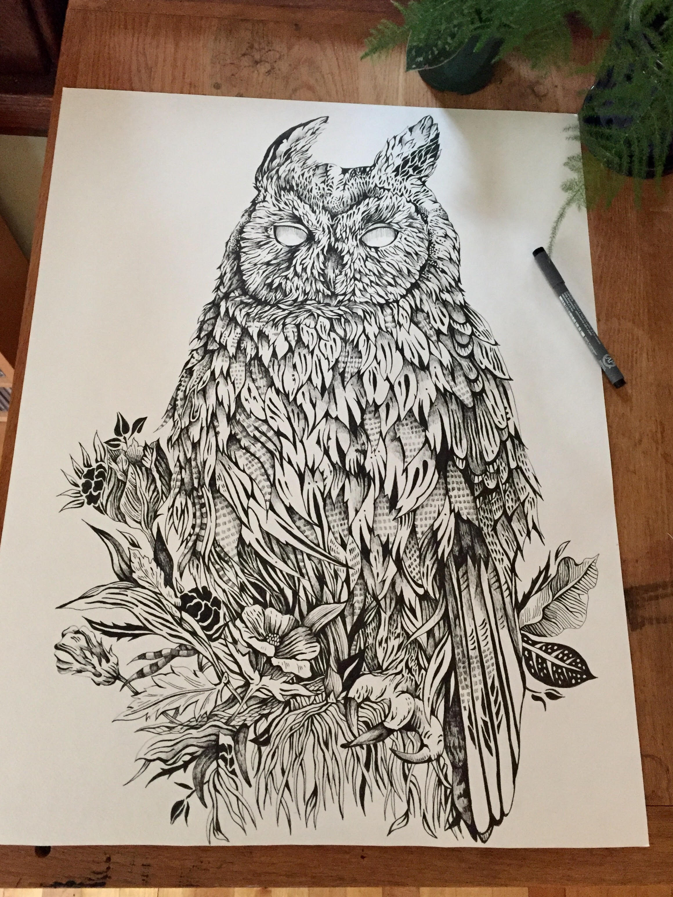 A Northern Long Eared Owl I recently finished. It was fun to play around with a lot of textures and patterns in this one.