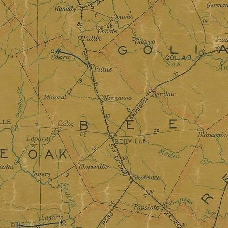 Bee County Texas 1907 Postal Map