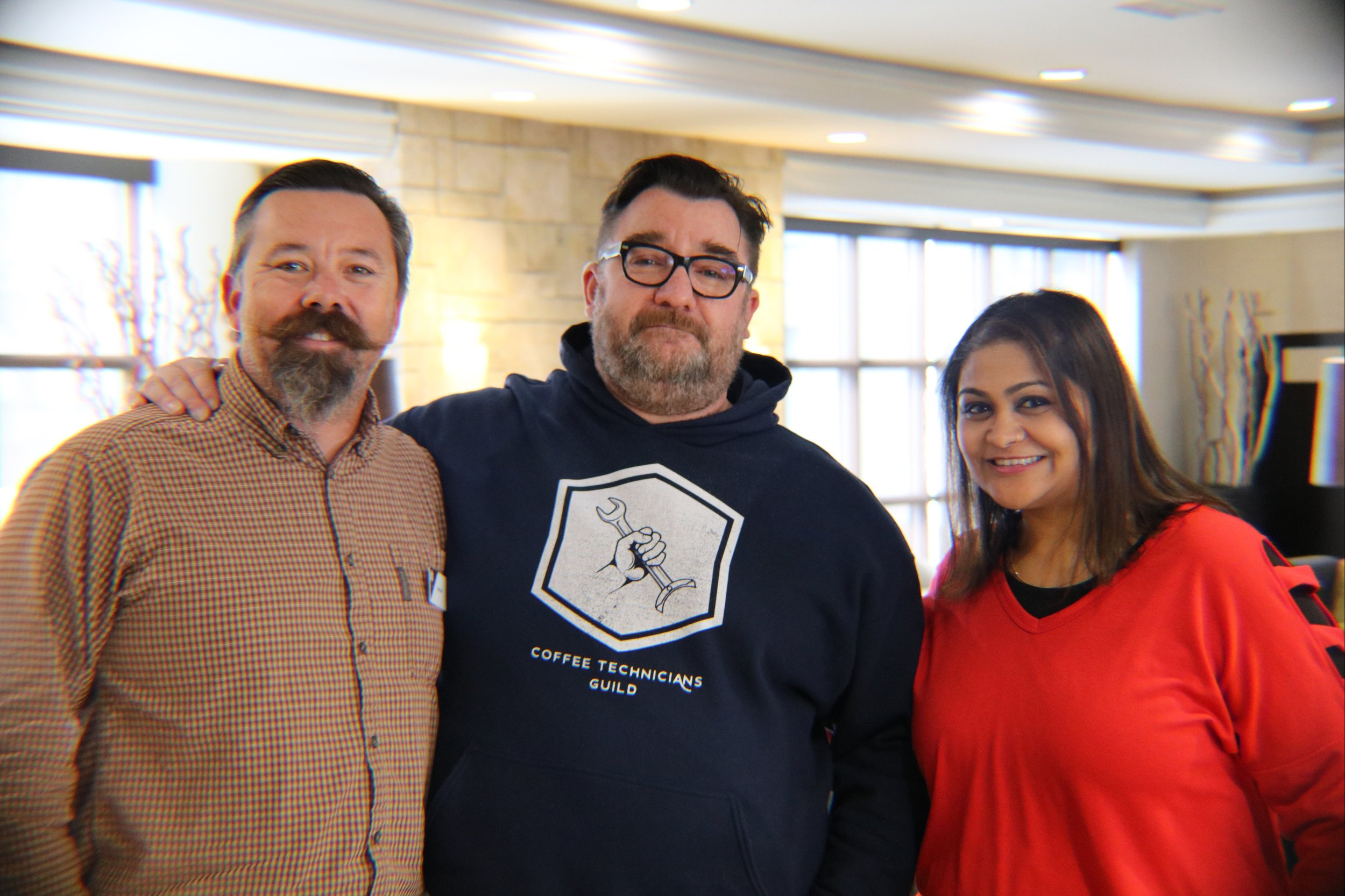 It almost reads like a poorly written romantic comedy: two people meet in a taxi, realize they have a lot of things in common, the conversation carrying over to a bar in the airport. - From left to right: Shad Biaz, Hylan Joseph, and Mansi Chokshi at the All Guilds meeting this past March in Ann Arbor, US.