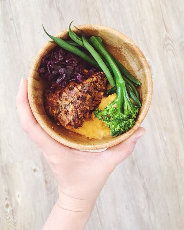 Served on sweet potato mash with braised red cabbage, green beans and tenderstem brocolli