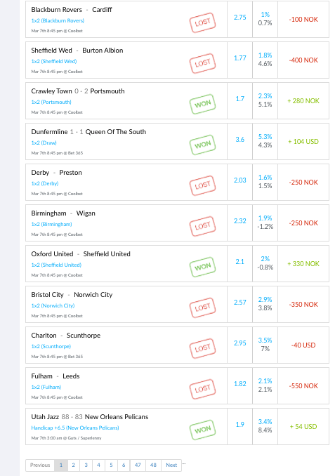 Screenshot of my trade feed during Week 20 —2-3
