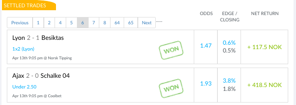 Screenshot of my trade feed during Week 25 —9-9