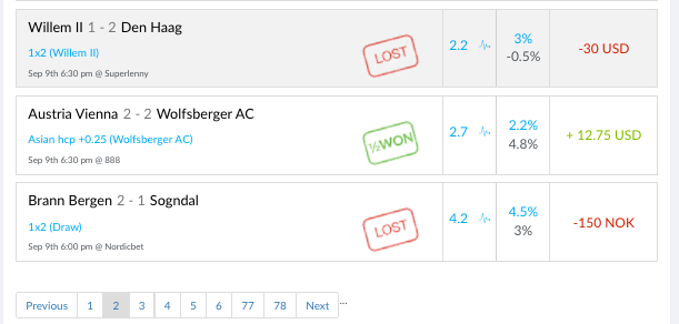 Screenshot of my trade feed during September —6-11