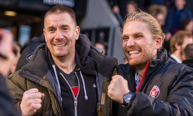 Matthew Benham (left) also has an interest Danish club Midtjylland. Credit: Søren Palmelund - The Guardian