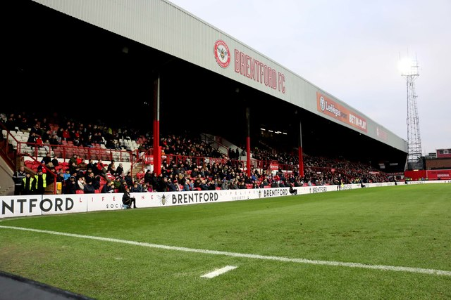 The Braemar Road stand at Brentford's home ground, Griffin Park.