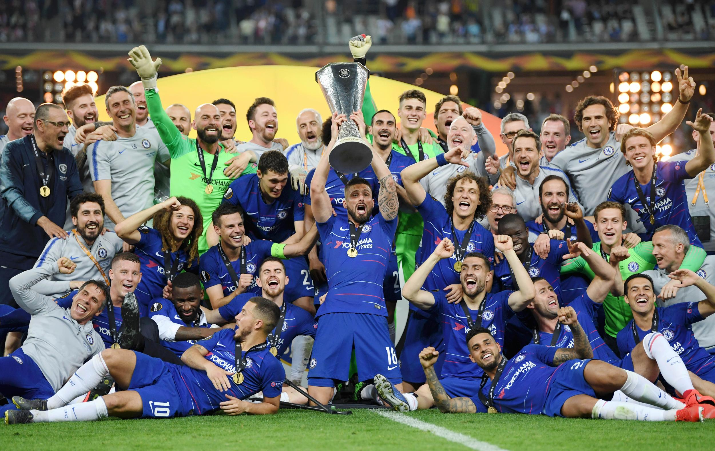 Chelsea celebrating their victory over Arsenal to claim the Europa League 2018/2019.