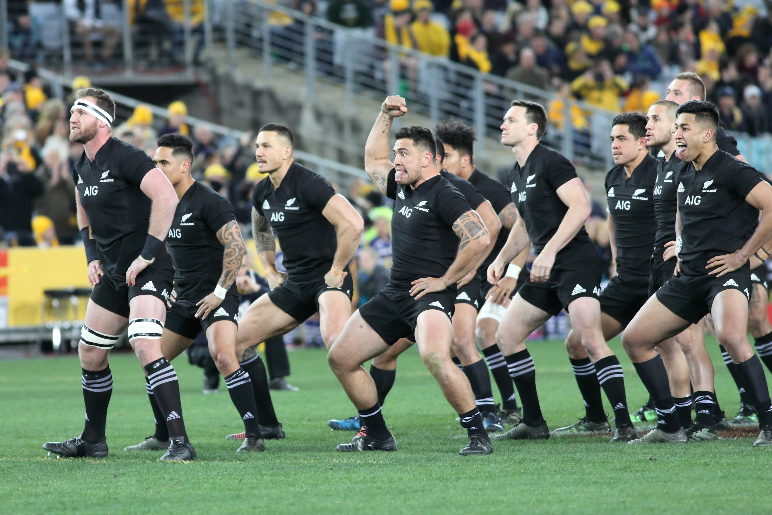 New Zealand performing their infamous 'Haka'.