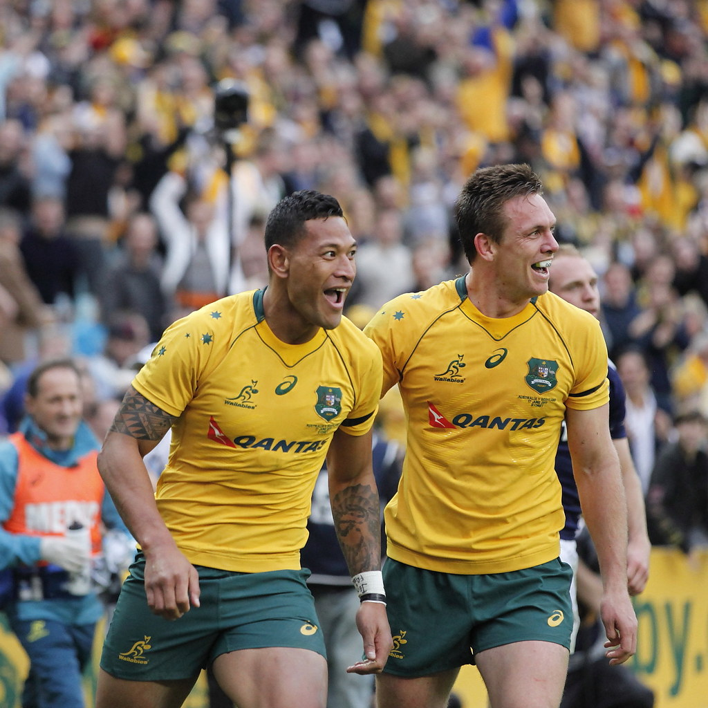 The Wallabies are without Israel Folau (left) after he was sacked by the ARU for homophobic slurs.