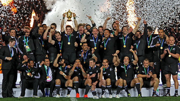 The All Blacks celebrating their 2011 World Cup win.