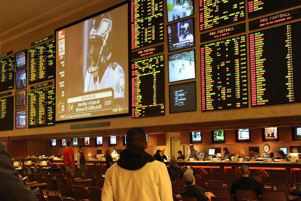 Sports betting in Las Vegas.
