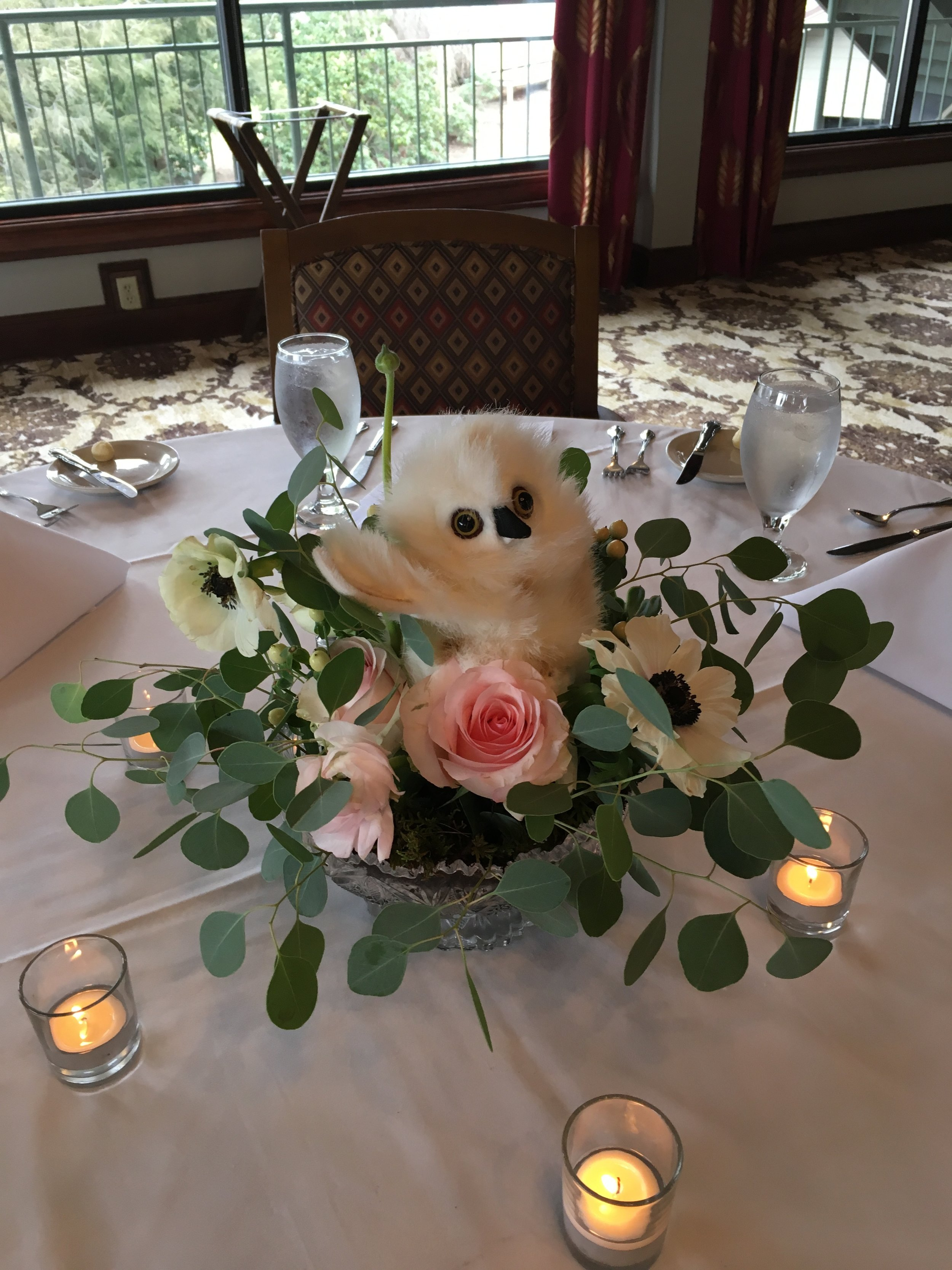 sweet woodland owl centerpiece