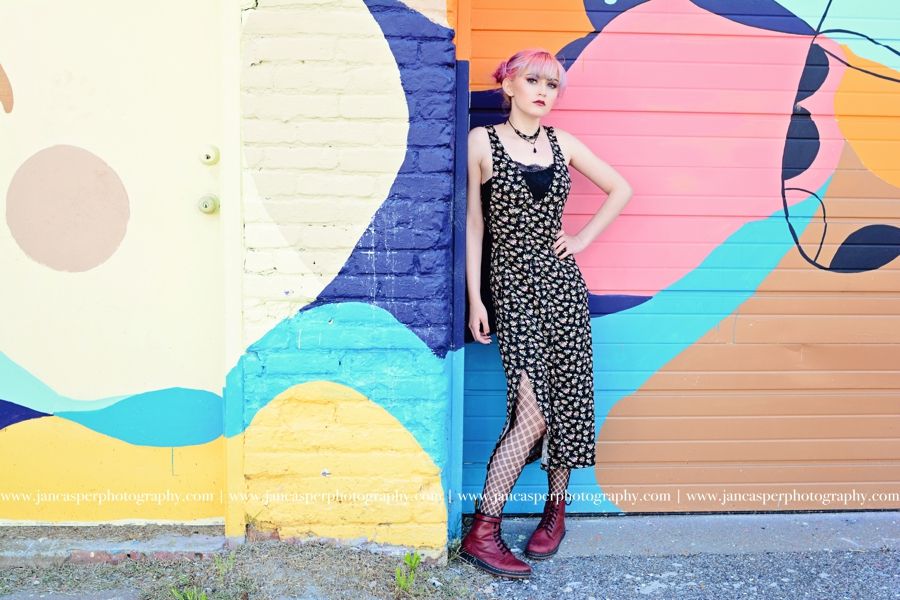 senior portrait Neon Arts District Norfolk, VA Jan Casper Photography Virginia