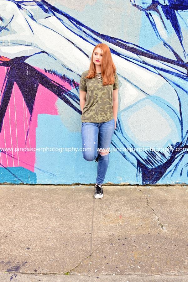senior portrait Norfolk Virginia Jan Casper Photography Norfolk Neon Arts District