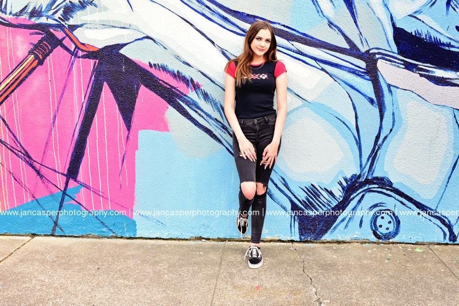 senior portrait downtown Norfolk Jan Casper Photography Norfolk Neon District