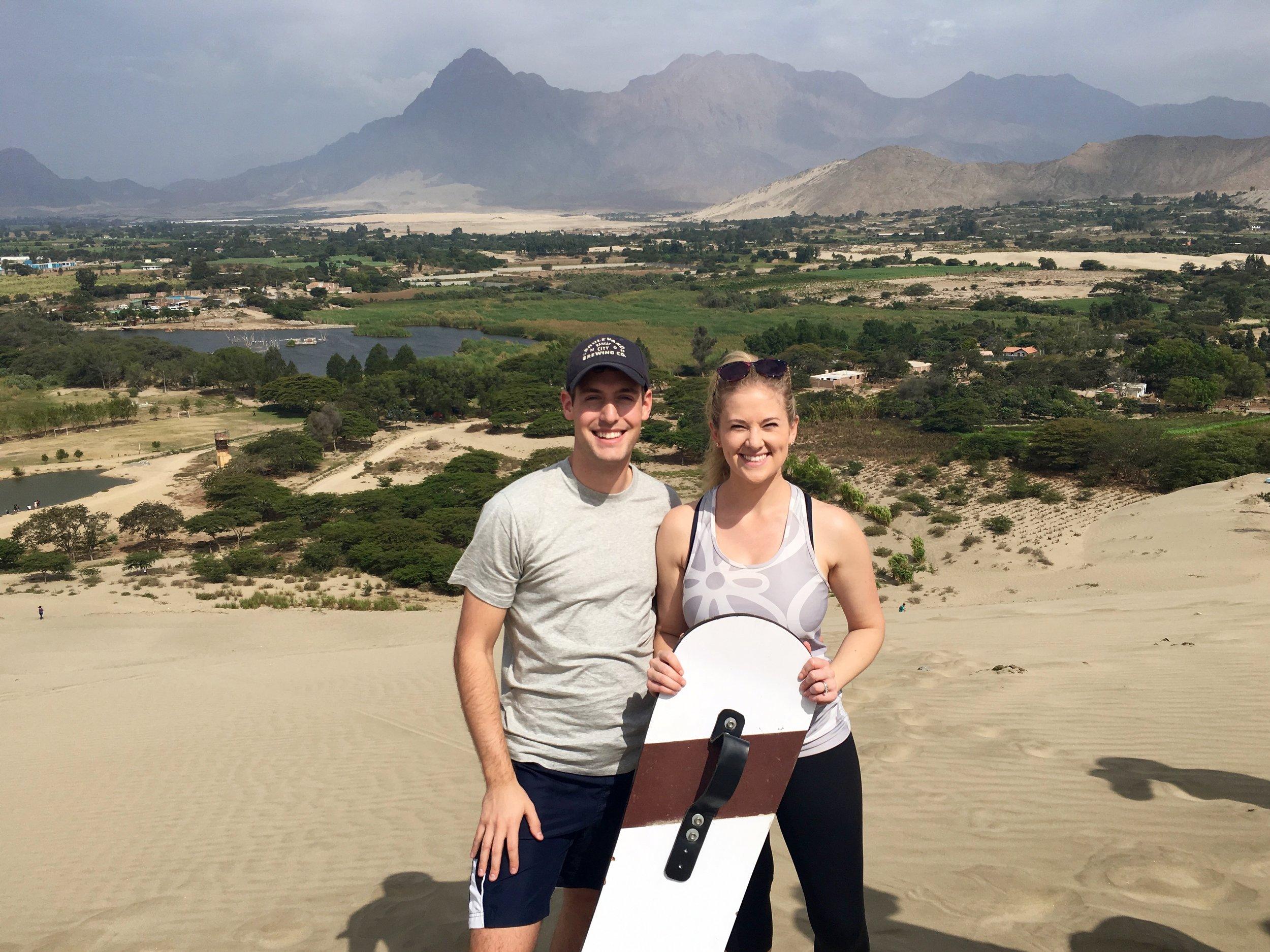 Sandboarding the Conache sand dunes
