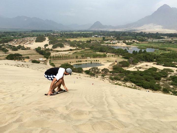 Sand boarding the Conache sand dunes