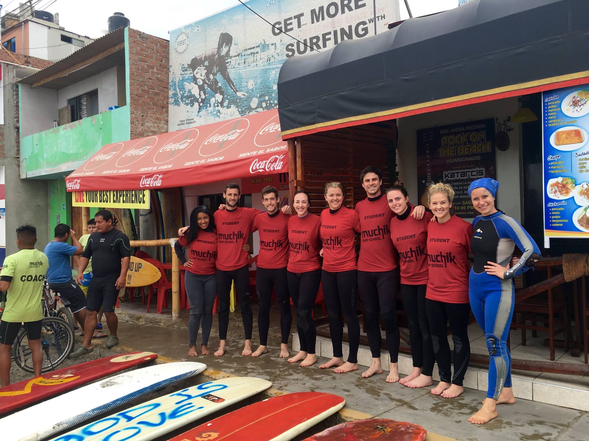 Learning to surf in Huanchaco, Peru