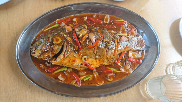Meal at Restaurante Mococho in Huanchaco, Peru