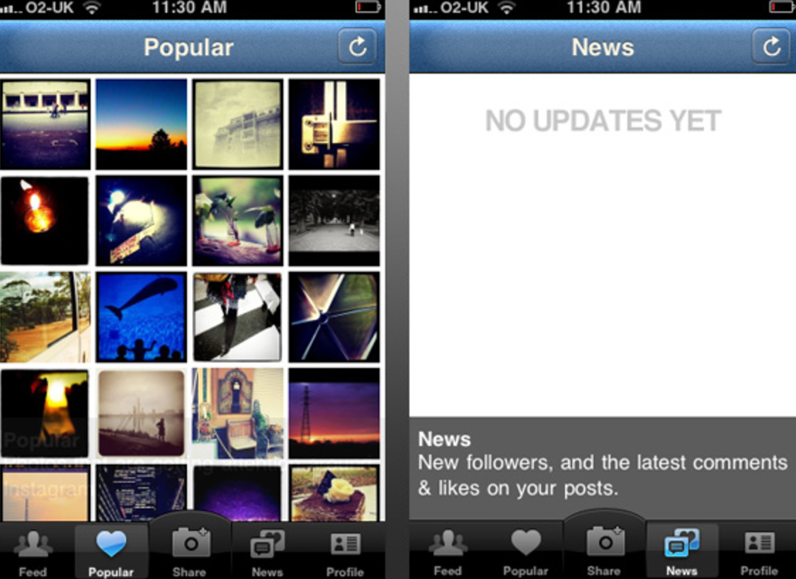 "The first version of Instagram, with options like a ""News Feed."""