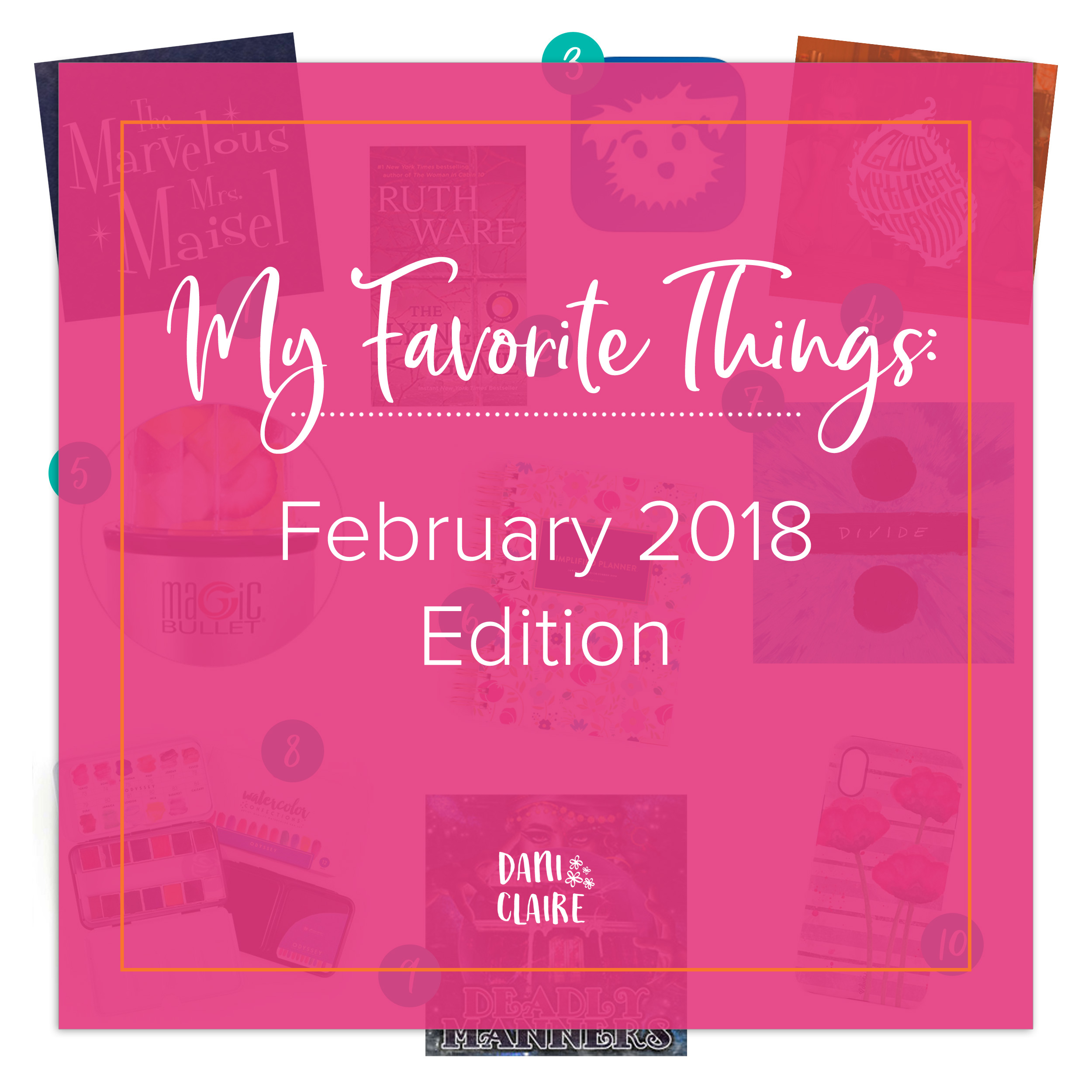 Dani Claire. My Favorite things. favorite Art Supplies, Prima Watercolor Confections,Favorite show. The marvelous mrs. maisel. Favorite App. Down Dog App. Favorite Youtube channel. Good mythical morning. magic bullet. simplified planner. planner girl. Favorite planner. Watercolor artist. Watercolor poppy. iphone case. poppy iphone case. watercolor art.