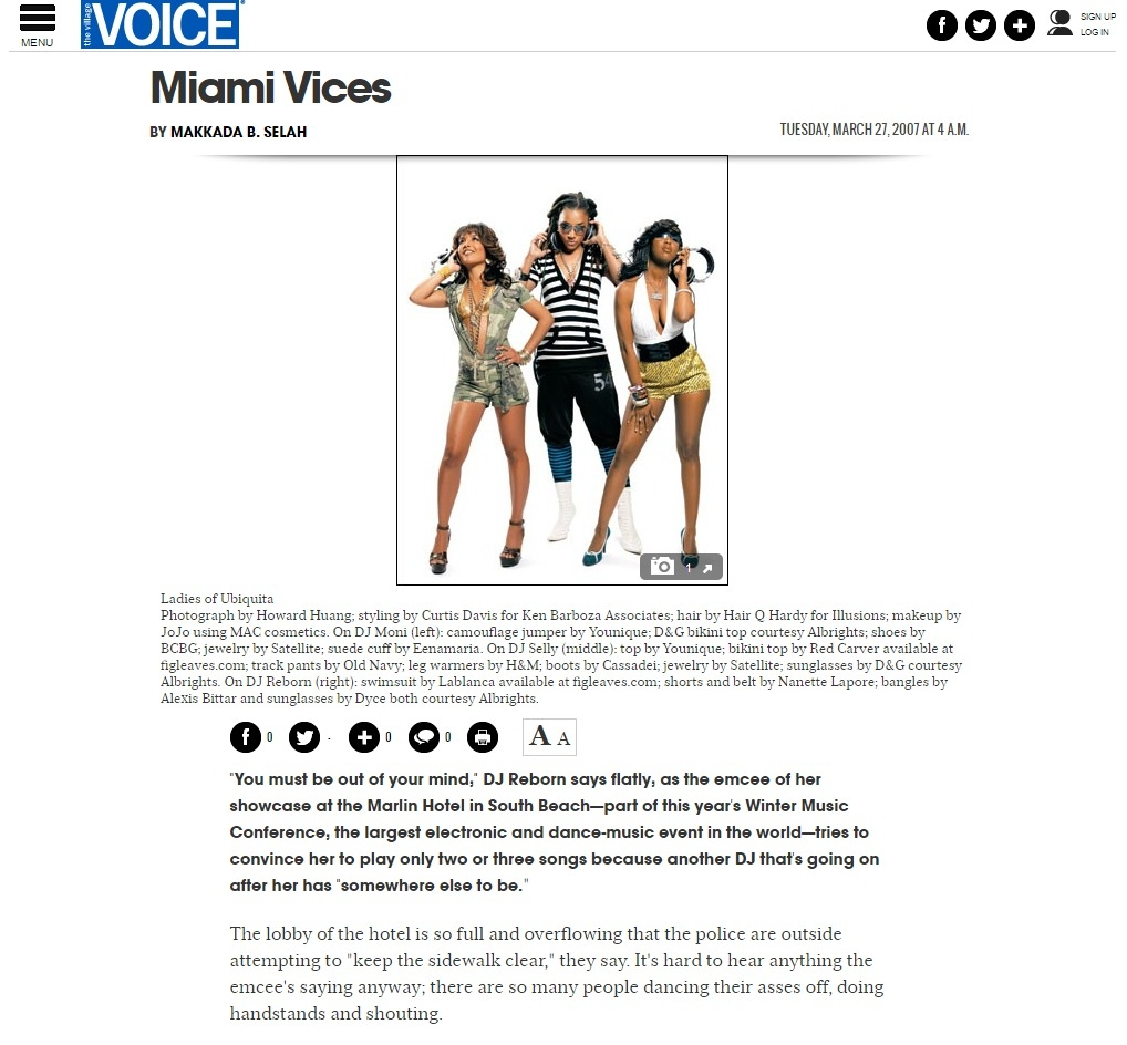 The Ladies of Ubiquita on the cover of the Village Voice 2007