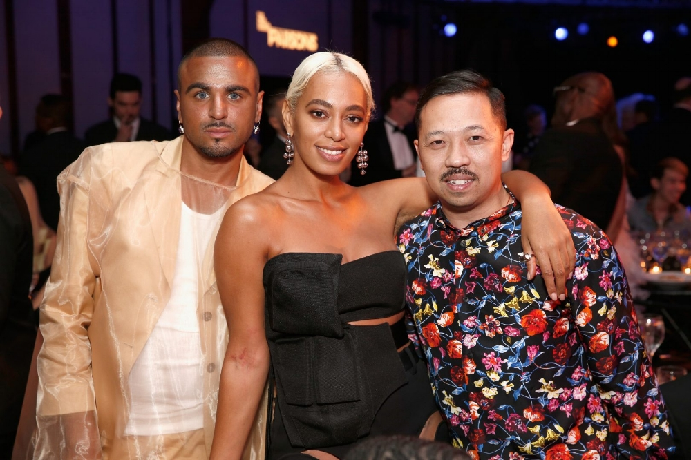 NEW YORK, NY – MAY 21: (L-R) Raul Lopez, Solange Knowles and Humberto Leon attend the 70th Annual Parsons Benefit on May 21, 2018 in New York City. (Photo by Brian Ach/Getty Images for The New School)