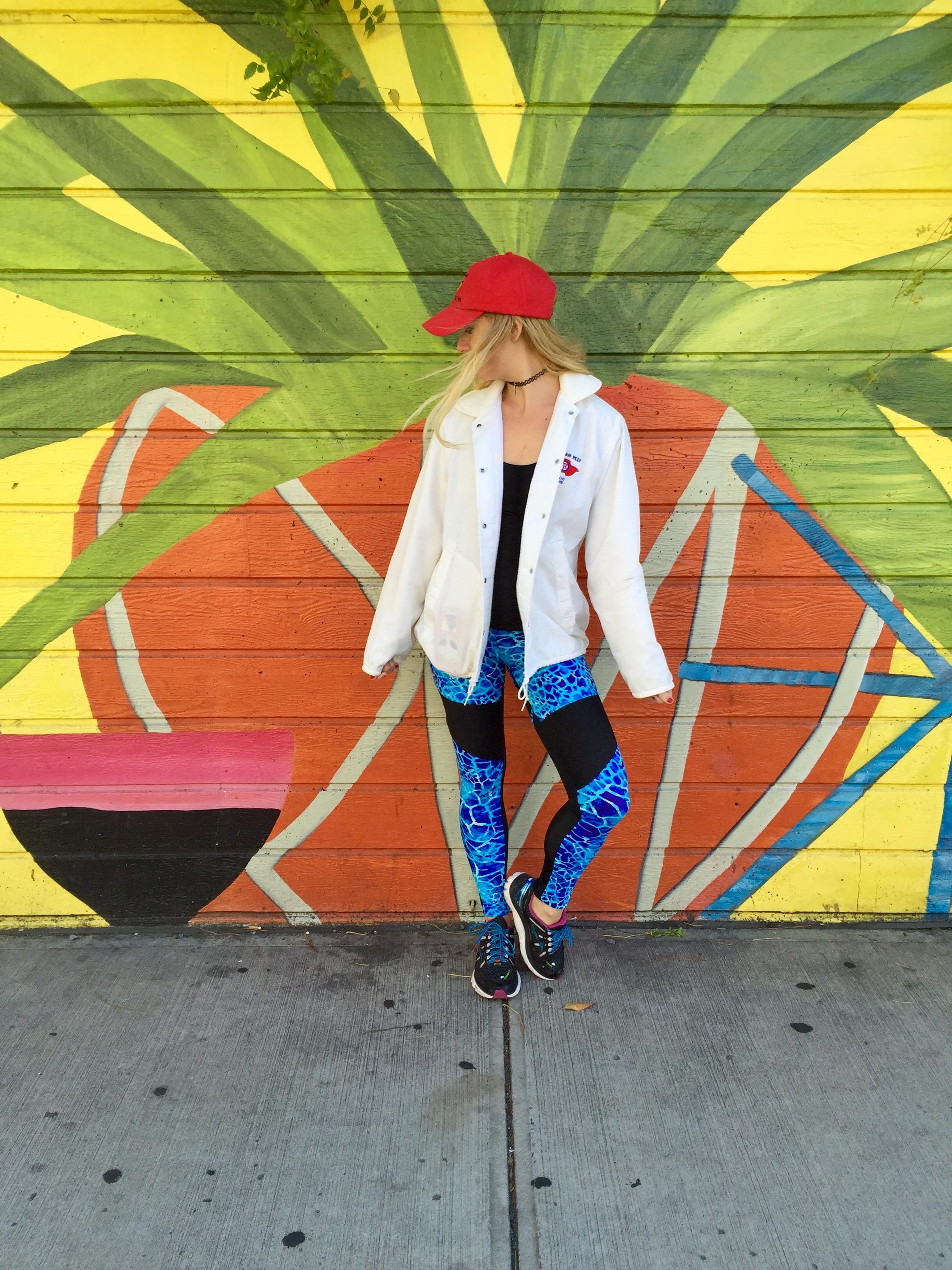 Hat and Jacket: Vintage, Top: Lululemon, Leggings: Zion's Den Apparel, Sneakers: Brooks Running