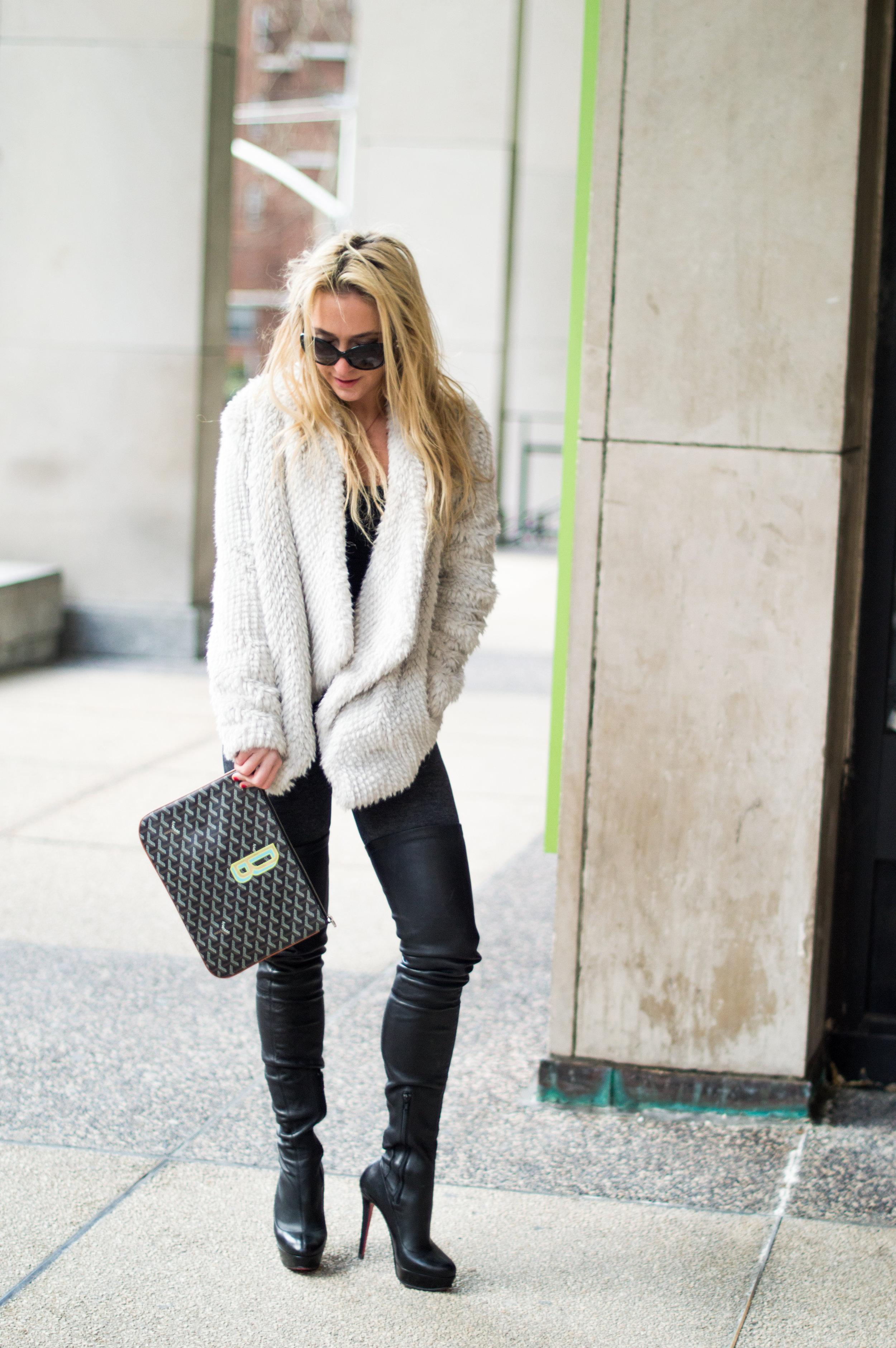Leggings: Lanston Sport, Top: Brandy Melville, Jacket: Bardot, Boots: Christian Louboutin, Sunglasses: Prada