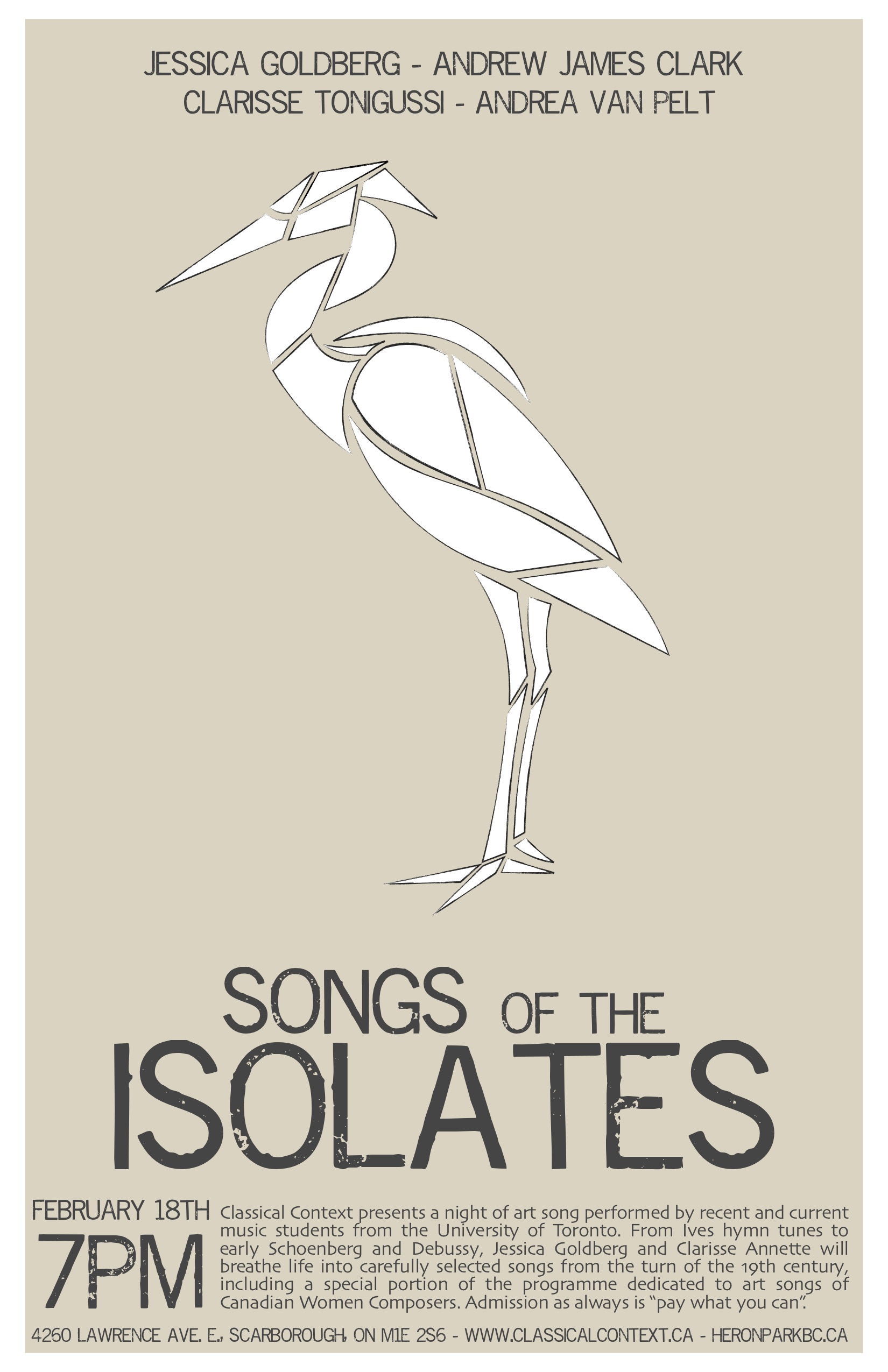 Songs of the isolates - February 2017