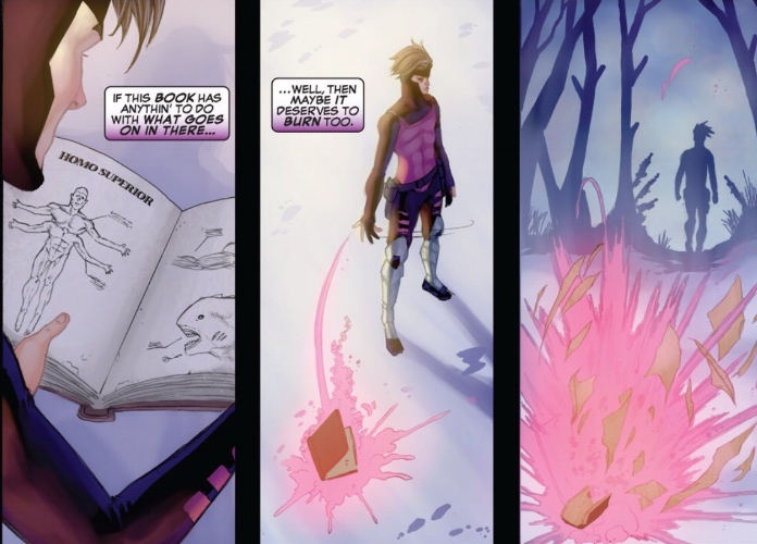 Gambit destroying Nathaniel Essex's diary ( Weapon X: First Class #3 )