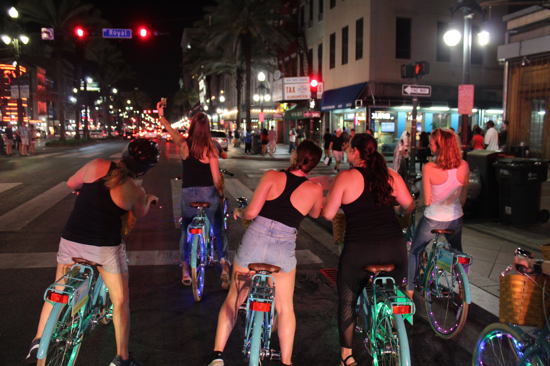 Our social ride is a party on two wheels. We offer the primer night ride of Nola. Be the lights of the city on our professionally maintained bikes. Our wheels are blinged out with lights and we have amplified music to boot. Don't miss out on this amazing group ride experience.