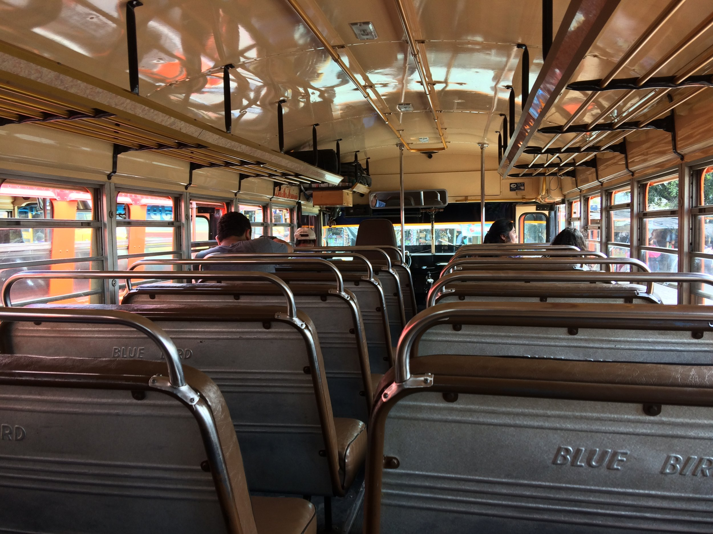 This is an empty chicken bus looks like. Take a good look because you'll never see it again.